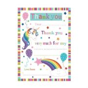 Pack of 20 Unicorn Thank You Sheets